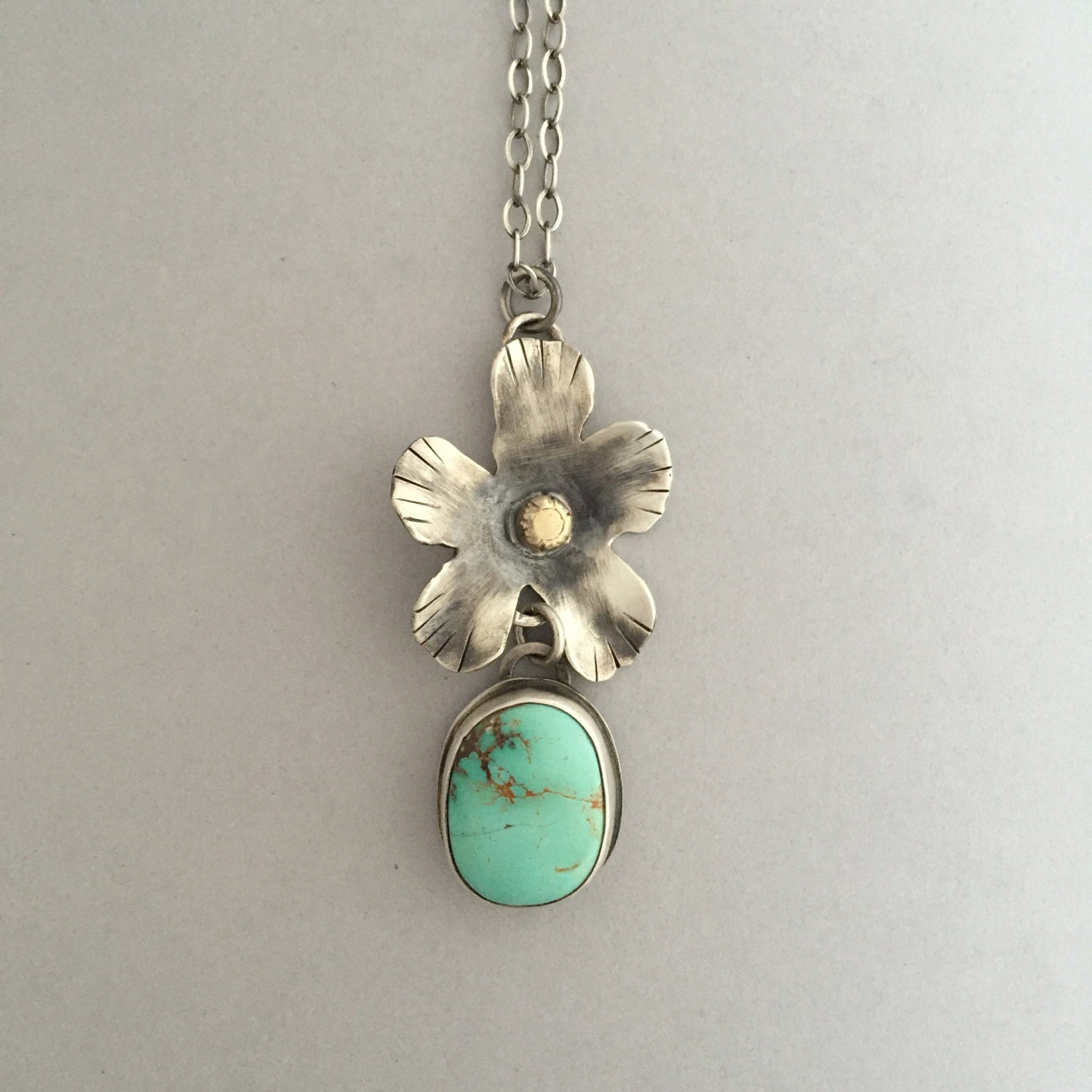 RESERVED Silver Flower Necklace Flower Necklace