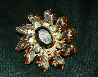 Vintage Huge Amber Glass Faceted Aurora Borealis AB Estate Brooch