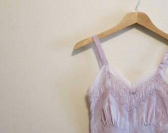 Full Slip dress lavender ruffled chiffon pinup lingerie 32 S