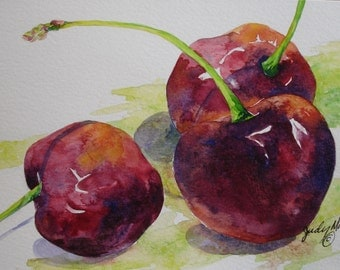 red burgundy bing cherry fruit handpainted watercolor greeting card