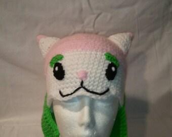 Plants Vs Zombies inspired Cattail crochet earflap hat
