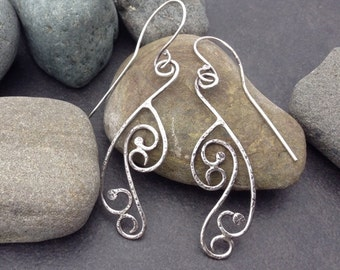 Sterling silver earrings, no stones, solid but delicate flowing curling lace filigree design, lightweight