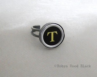 Vintage Typewriter Letter T Key Ring - Antique Silver Plated