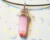 Pink Cat's Eye Crystal Stone Necklace, Mystical  Healing Chakra Quartz Necklace