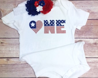 FOURTH of JULY BODYSUIT 2pc Set w/ Shabby Flower Headband, One, Patriotic, July 4th, Baby, Toddler, Girls, Outfit, First, 1st