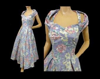 Laura Ashley Vintage 80s Dress Purple Print Cotton Sundress 80s does 50s