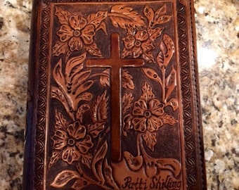 Beautiful Floral Tooled Leather Bible Cover