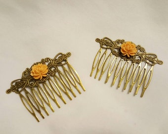 Hair Combs Gold Orange Flowers on Antique Gold