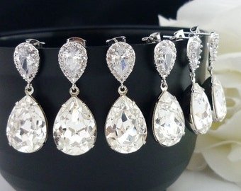 SALE 15% OFF SET of 8 Bridesmaid Gift Wedding Jewelry Bridal Jewelry Bridesmaid Jewelry Clear White Swarovski Crystal Tear Drop Earrings Cz