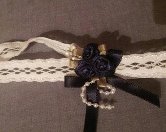 SALE - Navy blue and White headband