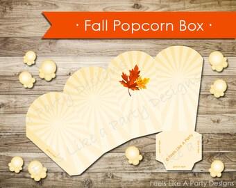 Fall Festival Popcorn Box- Instant Download