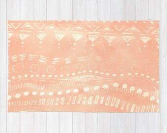 Coral Geometric Area Rug, pink area rug, nursery area rug, geometric rug, coral area rug, coral 2x3 rug, coral 4x6 rug, coral 3x5 rug
