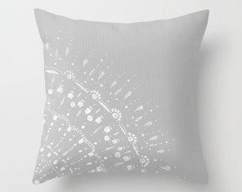 Grey Lace Throw Pillow Cover, grey pillow cover, gray pillow cover, grey throw pillow, gray throw pillow, modern pillow, mandala pillow