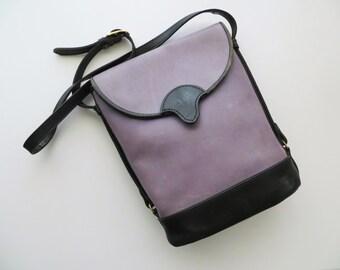 80s Lavender Leather Tote Crossbody Distressed Worn In Boho Shoulder Bag