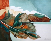 """Feather Song Series   """" Southwest Landscape""""   One of a Kind Original Watercolor"""