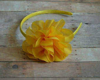 Yellow Headband Flower Hard Headband Easter Headband Baby Headband Toddler Headband Flower Girl Spring Summer