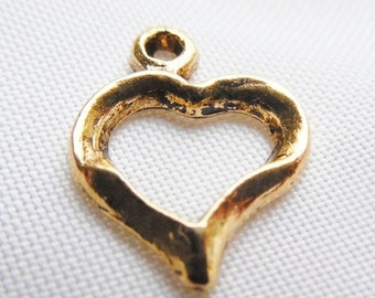 15%OFF 35pcs Gold Heart Charms or Silver Heart Charms 16x13mm Charm Bracelets, DIY Jewelry Supplies FREE Combined Shipping