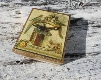 Antique Vintage Florentine Bird Bath Cat Lynx Tiger Wooden Trinket Box Florentia Italy