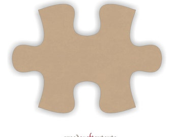6 Inch Wood Connecting Puzzle Piece Craft Cutout Shape - One Piece