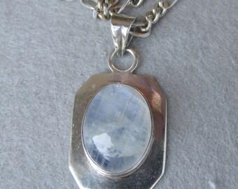 "Vintage 30"" Long Moonstone Sterling Silver Pendant Necklace"
