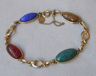 "1960's Vintage Gold Filled Semi Precious Gemstone Oval Scarab Bracelet, 7 1/2"" Long & Signed Candida"