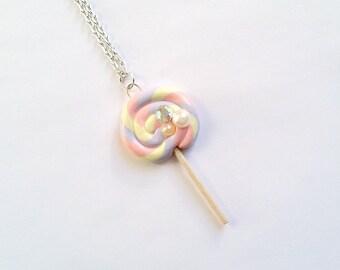 Pink Purple and Yellow Mini Deco Lollipop Necklace - Decoden, Kawaii Necklace, Kawaii Jewelry, Sweet Lolita, Fairy Kei, Fairy Kei Necklace