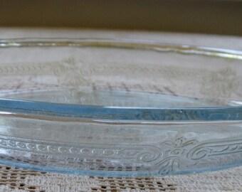 "Vintage Fire King Glass Sapphire Blue Pie Plate -  9"" Philbe"