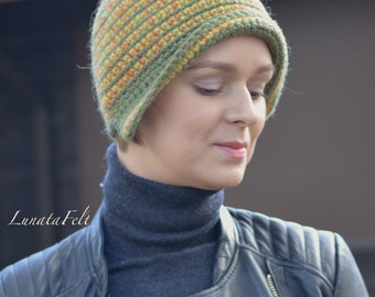 Apples - OAAK crochet hat from original hand spinned yarn 100% wool - green, orange, yellow - warm hat for winter - ready to ship