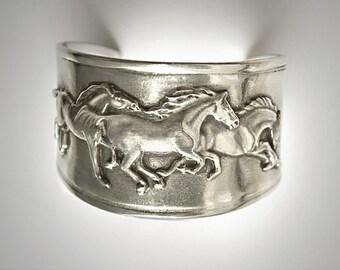Galloping Mustangs Frieze on cuff bracelet