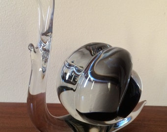 Hand Crafted Glass SNAIL.. Signed 1970's Vintage Artglass