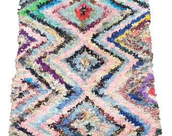 Thick Vintage Moroccan Boucherouite Rug, 7ft by 4ft 6inches