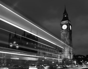 Big Ben, Elizabeth Tower, Houses of Parliament, Black and White, Night, Fine Art, Photograph, London, England, UK, Alison Zak-Collins