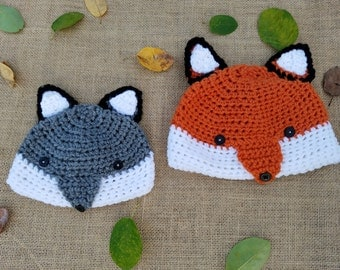 Crochet Fox Hat- Gray Fox Hat- Red Fox Hat- Fox Beanie- All Sizes