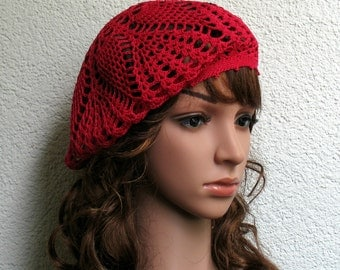 Women's Crochet Summer beret Summer hat Light Red Cotton beret hat Women's Summer hat Women's Slouchy Beret Tam Hat