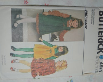 Butterick 4513 Girls Dress and Jumper Sewing Pattern - UNCUT Sizes  3 4 5 6 6X