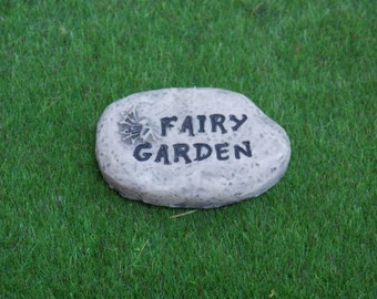 "Miniature Fairy Garden ""Fairy Garden"" Stepping Stone succulent terrarium dish dollhouse"