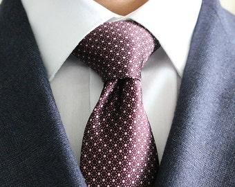 Silk Tie Burgundy Geometric Design. Slim Men's Neckties. Luxury Neckwear. 100% Italian Silk. Wedding Groomsmen Ties. Made In USA