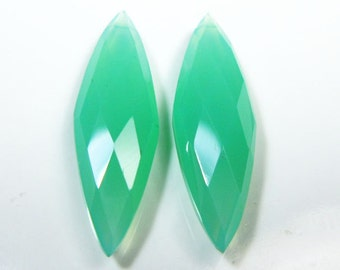 1 Matching Pair-AAA Chrysoprase Chalcedony Faceted Marquise Briolette- Stone measures -25x8mm