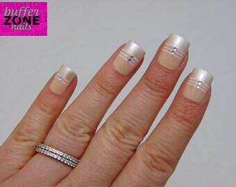 Hand Painted Press On False Nails, Nude Pearl White & Rhinestone, Short Length