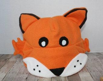 Adult Orange Fox Fleece Winter Hat (S, M, L)