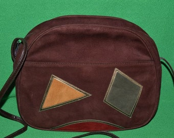 Vintage Brown Suede Patent Bally Shoulder Crossbody Bag Geometric 1980s