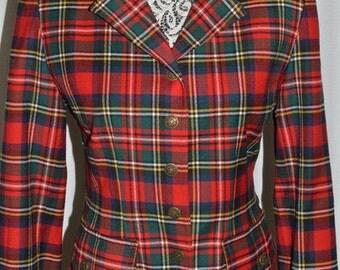 Moschino Jeans Jacket Blazer Wool Red Check Scottish Tartan 1990s