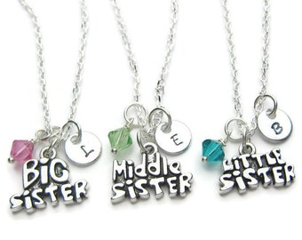 Big, Middle And Little Sister Personalized Initial Swarovski Birthstone Necklaces, 3 Sisters Necklaces, Personalized Necklaces