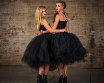 Womens skirt tea length Adult black tutu, gorhic wedding tutu, tutu, tutu,halloween skirt, costume dress, prom dress, tea length black tutu