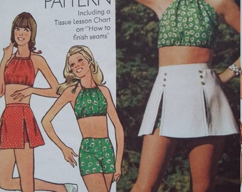 Vintage Simplicity 5582 Sewing Pattern Size Halter-Top, Short Shorts Including a Tissue Lesson Chart How to Finish Seams