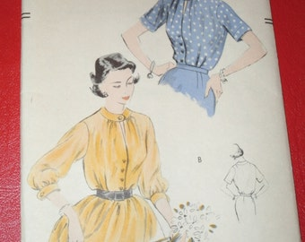Vintage Vogue 7377 Sewing Pattern 1950s Tuck In Blouses Size 14 Bust 32