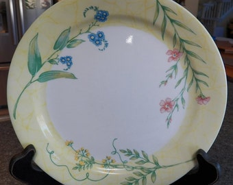 Corelle SUN GARDEN Luncheon/Lunch Plates/Dishes Lot of 4~Yellow/BLue/Pink Floral