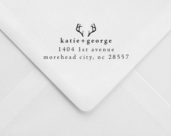 Personalized Return Address Stamp – Antlers – Rustic Wedding Stamp