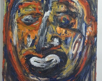 Face in Multicolors, Untitled Original Acrylic Painting