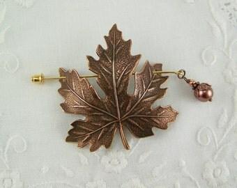 Shawl Pin, Maple Leaf Pin, Fall Leaf Pin, Scarf Pin, Sweater Pin, Copper Leaf Pin, Maple Leaf, Pearl Pin, Leaf Pin, Copper Maple Leaf Pin